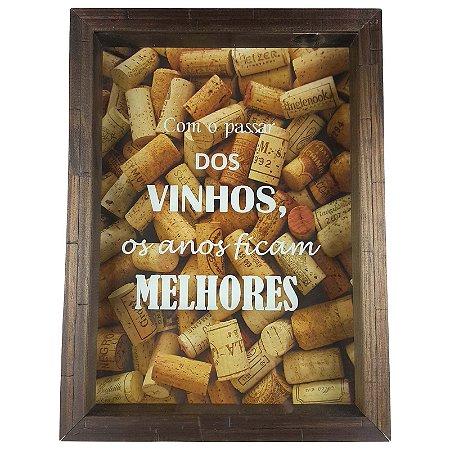 Quadro Porta Rolhas Madeira e Vidro Decoração Ref. 7901 - Art