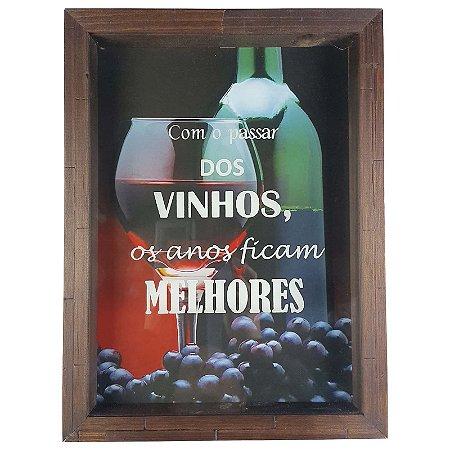 Quadro Porta Rolhas Madeira e Vidro Decoração Ref. 7902 - Art