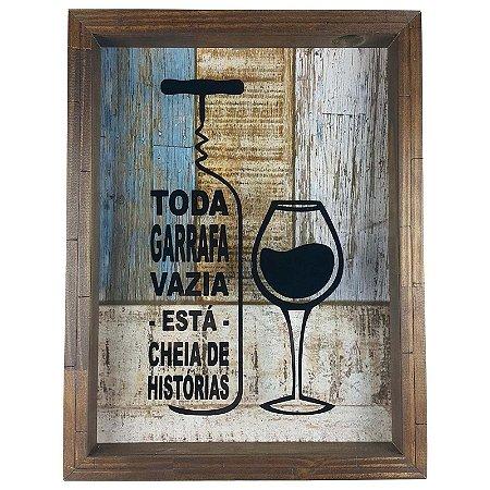 Quadro Porta Rolhas Madeira e Vidro Decoração Ref. 7943 - Art