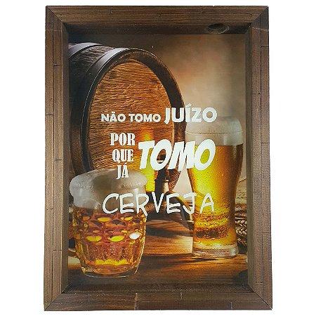 Quadro Porta Tampinha de Cerveja Madeira e Vidro Decoração Ref. 7912 - Art
