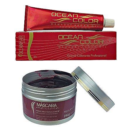 Máscara Marsala Tonalizante 250g +  Creme Colorante 8.26 Marsala 60g - Ocean Hair