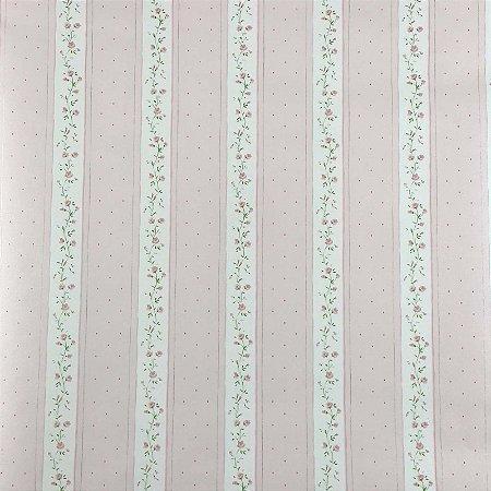 Papel de Parede Auto Adesivo PVC Rosa Bebê Florzinhas 45cmX5m - Ref. 631956B