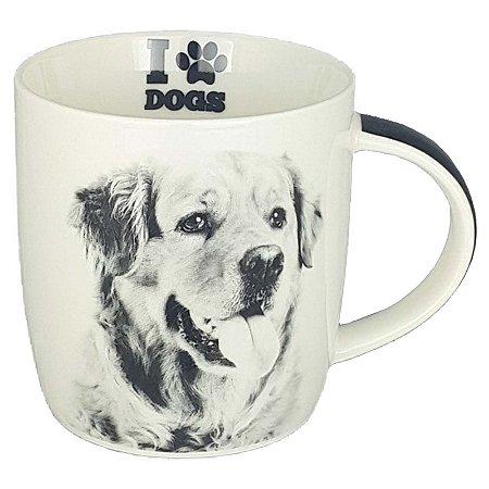 Caneca Porcelana Lindo Pet Cachorro Golden Retriever  320 ml - DM Brasil