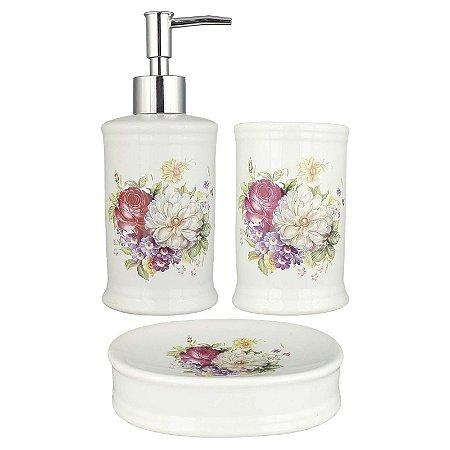 Kit Saboneteira Liquida Porcelana Branca Flores Coloridas - DM Brasil