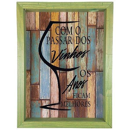 Quadro Porta Rolhas Madeira e Vidro Decoração Verde Ref. 7945 - Art