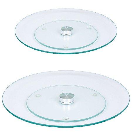 Kit Pratos Giratórios Vidro Transparente Temperado 45 e 60 cm - Wincy
