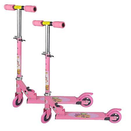 Kit Patinete Infantil Brinquedo 02 Rodas em Gel Dupla Rosa