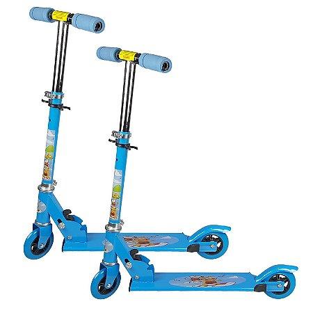Kit Patinete Infantil Brinquedo 02 Rodas em Gel Dupla Azul