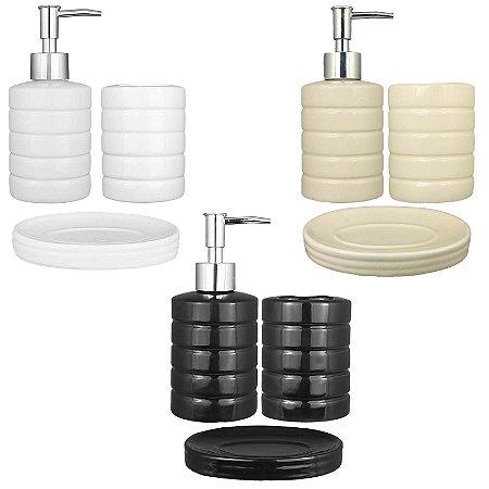 Kit Banheiro Lavabo Sabonete Líquido Porta Escovas Cerâmica 3 peças - Art House