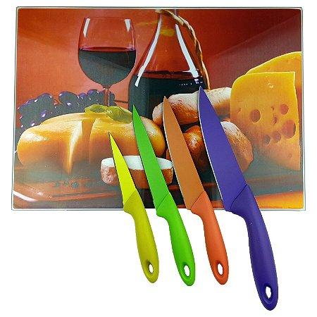 Tábua de Vidro Temperado 25x35cm Jarra de Vinho + Jogo Facas Inox Colorida 4 pçs - Wincy