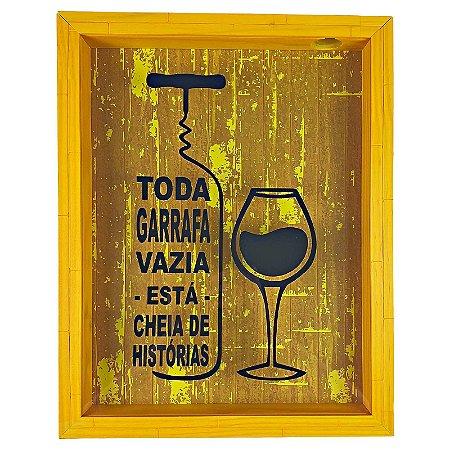 Quadro Porta Rolhas Madeira e Vidro Decoração Amarelo Ref. 7942 - Art