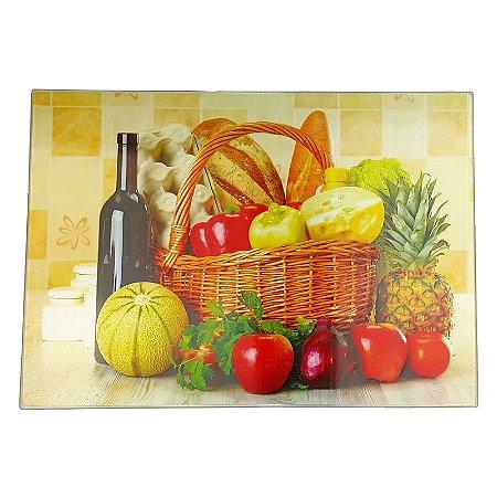 Tabua de Corte Vidro Temperado 28x38cm Cesta Pães Frutas - Wincy