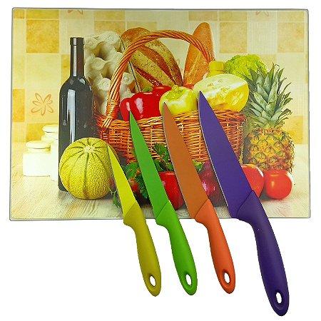 Tábua de Corte Vidro Temperado 28x38cm Cesta Pães Frutas + Jogo Facas Inox Colorida 4 Peças  - Wincy