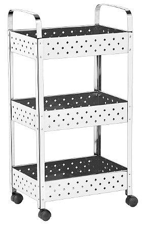 Fruteira Organizador Multiuso Aço Inox 3 andares com rodinhas - Mak Inox