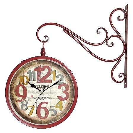 Relógio de Parede para Decoração Vintage Retrô Estilo Estação Ferroviária Face Dupla London 1889