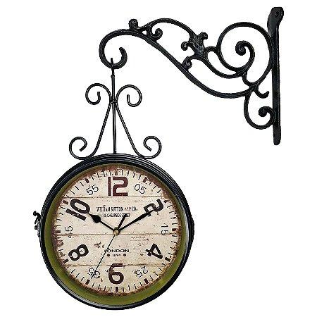 Relógio de Parede Face Dupla Retrô Vintage Estilo Estação De Trem  de London 1894 - Decoração
