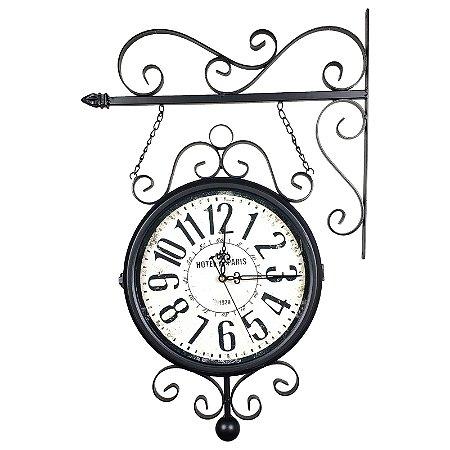 Relógio com Suporte para Pendurar Face Dupla Retrô - Estação Ferroviária Hotel Paris 1929