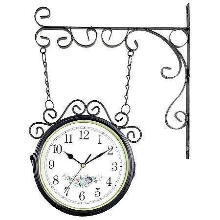 Relógio de Parede com Suporte Preto para Decoração - Retrô Vintage Flores Estilo Estação Ferroviária