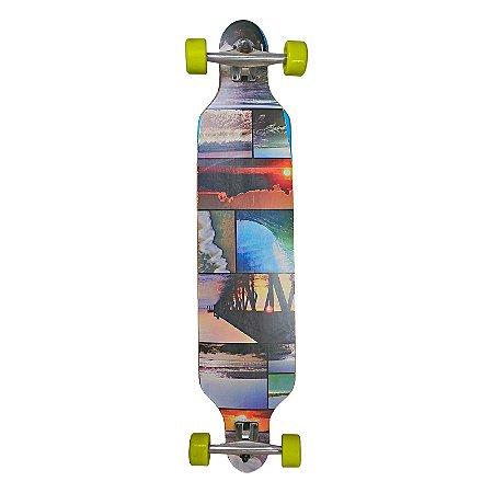 Skate LongBoard Completo Com Lixa Antiderrapante Shape Maple Rodas em PU Truck Alumínio - Unitoys