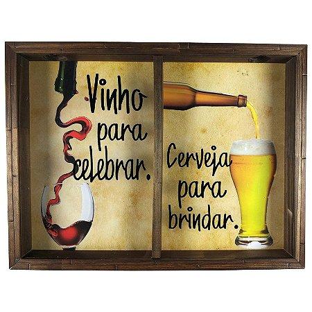 Quadro Duplo Porta Rolhas Vinhos e Tampinha Cerveja Rustico - Brindar e Celebrar