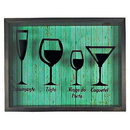 Quadro Porta Rolhas Decorativo Rustico Tipos de Vinhos  - Art Frame