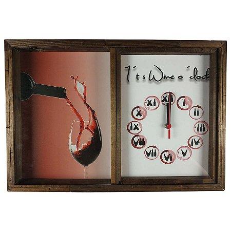 Quadro Relógio Porta Rolhas Vinho Decoração Rustico Números Romanos - ArtFrame