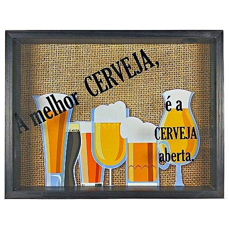 Quadro Porta Tampinha Cerveja Rustico A melhor Cerveja - ArtFrame