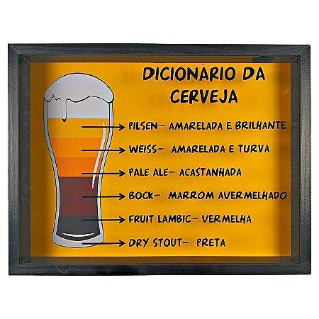 Quadro Porta Tampinha Cerveja Rustico Dicionário da Cerveja - ArtFrame