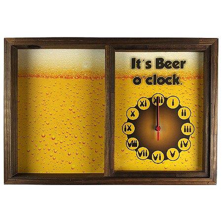 Quadro Porta Tampinha Relógio Cerveja It's Beer - ArtFrame