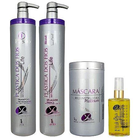 Kit Selagem Térmica Blond Life Máscara de Hidratação Platinum e Óleo de Argan Yllen Cosméticos