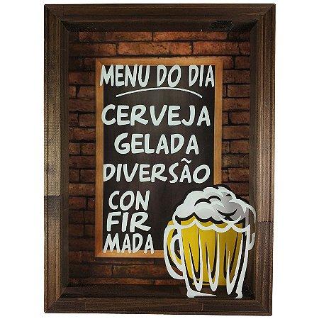 Quadro Decorativo Porta Tampinhas Cerveja Menu do Dia - Art