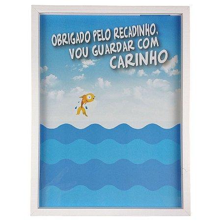 Quadro Porta Recado Mensagens de Recordação de Aniversário Mar Azul 30x40cm