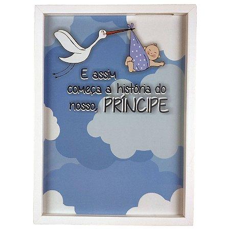 Quadro Porta Recado Mensagens de Recordação Maternidade Recém Nascido Cegonha Azul