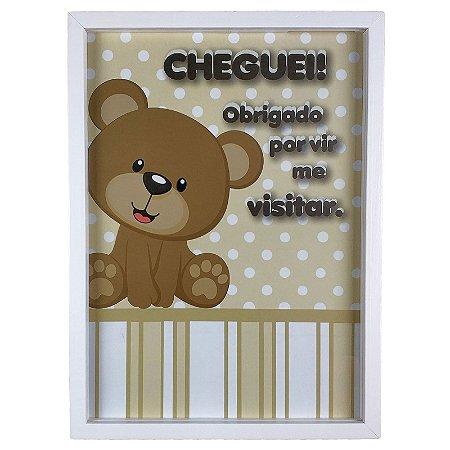 Quadro Porta Recado Mensagens de Recordação Maternidade Recém Nascido Ursinho