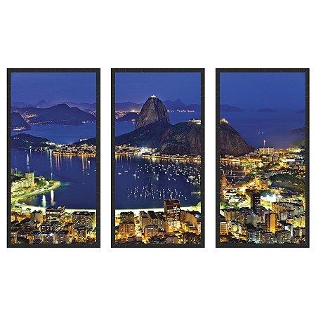 f052a559a Quadro Decorativo Triplo Com Moldura Paisagem Rio de Janeiro á Noite -  ArtFrame