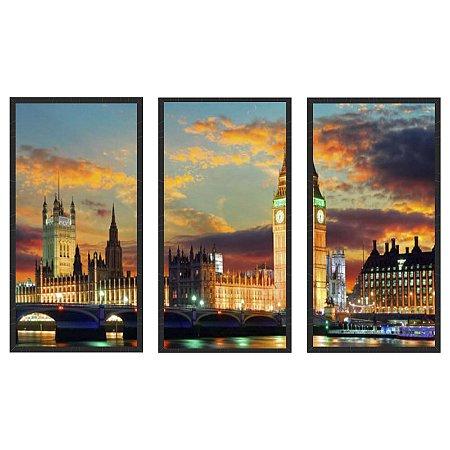 Quadro Decorativo Triplo Com Moldura Paisagem Londres Relógio Big Bem - ArtFrame
