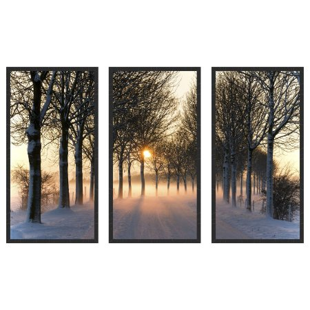 Quadro Decorativo Triplo Com Moldura Paisagem Estrada Coberta de Neve Art