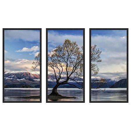 Quadro Decorativo Triplo Com Moldura Paisagem árvore as Margens do Rio Art