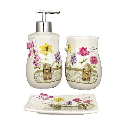 Kit para Banheiro em Porcelana Branco Escova Saboneteira Liquido Fresh Beautiful - AmiGold