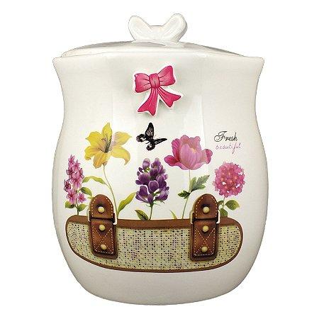 Lixeira para Banheiro em Porcelana Fresh Beautiful Flores 1 Peça - Amigold