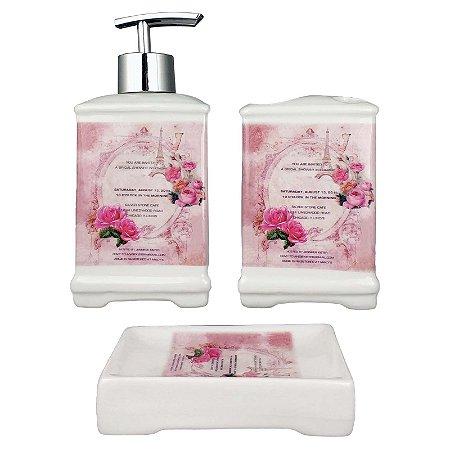 Kit Saboneteira Vintage Retrô Flores Rosas Porta Escova De Sabonete Liquido 3 Peças - Wincy