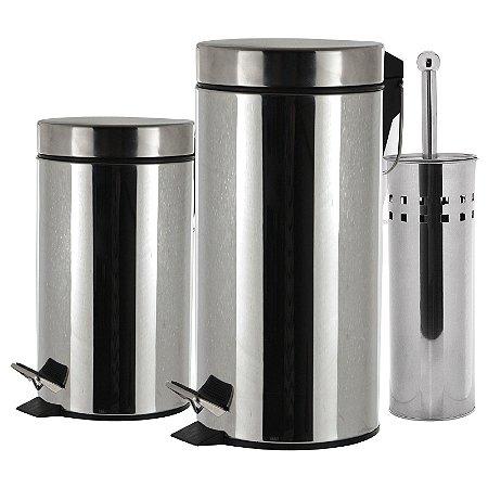 Kit 2 lixeiras 05 + 20 Litros com Escova Sanitária em Aço Inox 3 Peças - Wincy