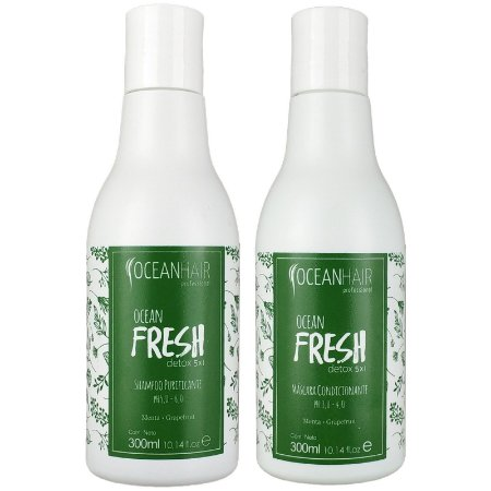 Kit Shampoo Purificante e Máscara Condicionadora Ocean Fresh Detox Ação 5x1 2x300ml - Oceanhair