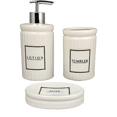 Kit Banheiro Porcelana Lotion Porta Sabonete Liquido Porta Cotonete e Saboneteira - Amigold