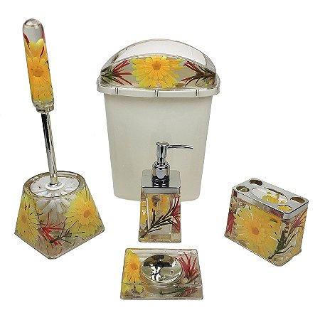 Kit Para Banheiro Em Acrílico 5 Peças Decoradas Lixeira Saboneteiras e Porta Escovas - Amigold