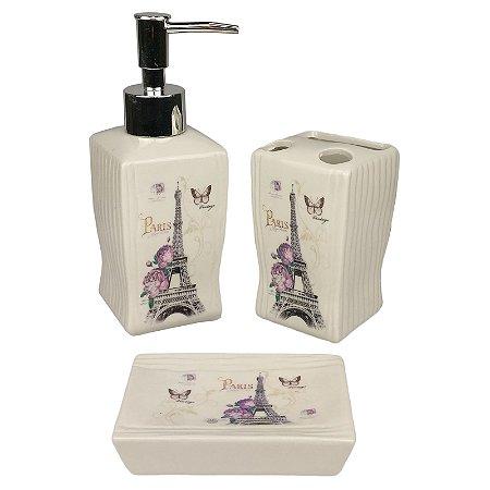 Kit Banheiro Porcelana Paris Porta Sabonete Liquido Porta Escovas e Saboneteira - Wincy