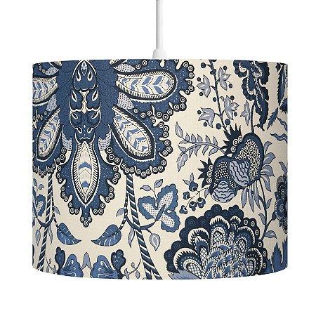 Pendente Luminária Nara Decorativo Cúpula em Tecido Estampa Floral Azul 23X30 - Carambola