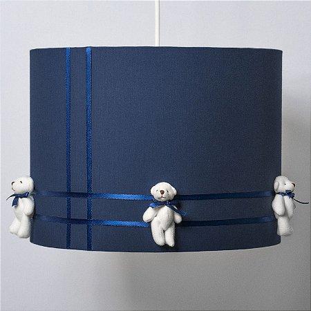 Pendente Luminária Infantil Decorativo Cúpula Azul Marinho com Ursinhos 23X33 - Carambola