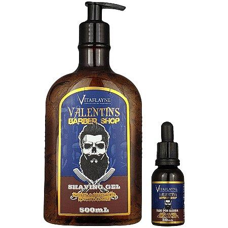 Kit Gel Shaving 500ml e Óleo Pós Barba 30ml Valentins Barber Shop - Vitaflayne