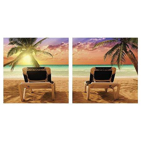 Quadro Decorativo Duplo de Acrílico de Parede Paisagem Praia 40x40 - Artframe